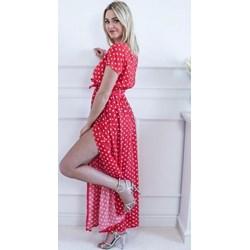11912f2421 Sukienka na wiosnę maxi z krótkim rękawem z elastanu
