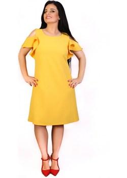 Sukienka Plus Size Balbina Trapezowa Żółta 42 żółty Exclusive Line e-sukienki.pl - kod rabatowy