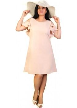 Balza- Sukienka Plus Size Trapezowa Pudrowy Róż 44 pudrowy róż  Exclusive Line e-sukienki.pl - kod rabatowy