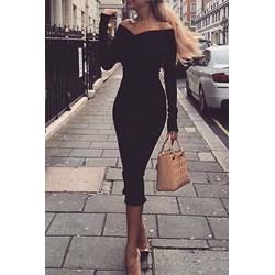 7a3b91c834 Sukienka Ivet.pl z odkrytymi ramionami bez wzorów z długim rękawem