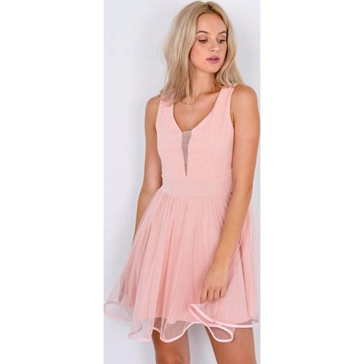 ea95ed8cb2 Sukienka Zoio bez wzorów mini rozkloszowana na urodziny bez rękawów   Sukienka Zoio różowa ...