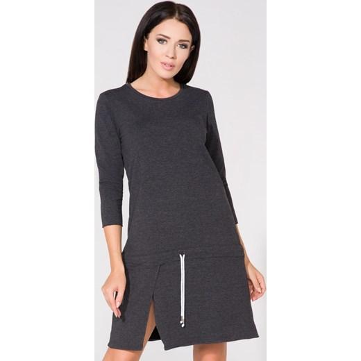 562de883ff Sukienka Tessita mini bawełniana z długimi rękawami trapezowa z okrągłym  dekoltem ...