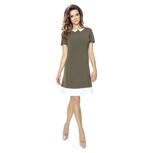 e589d0827d Sukienka Bergamo z krótkim rękawem trapezowa w Domodi