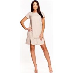 bf09e9ea04 Sukienka Ficcarelli prosta midi z krótkim rękawem z okrągłym dekoltem na  urodziny bez wzorów
