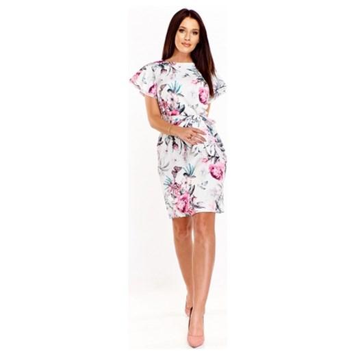 b2b390667d Sukienka Adika z krótkimi rękawami w kwiaty midi na spacer w Domodi