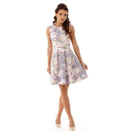 f927558b Sukienka Ella Dora midi bez rękawów na spotkanie biznesowe w kwiaty  trapezowa