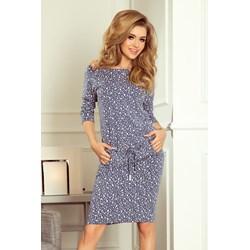 b84ce14c Numoco sukienka niebieska na spacer prosta casual midi z długim rękawem