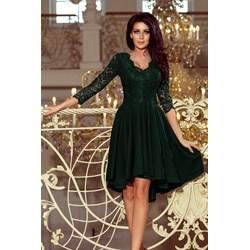 8e2a709def Sukienka Numoco zielona na bal koronkowa z długim rękawem