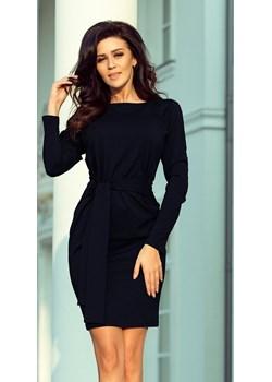 Sukienka z szerokim ozdobnym paskiem - GRANATOWA  Numoco wyprzedaż KupSukienke.pl  - kod rabatowy