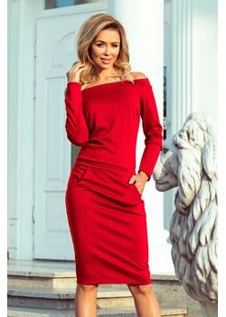 Stephanie. Elegancka sukienka o długości midi z długim rękawem. Odkryte ramiona - CZERWONA  Numoco KupSukienke.pl promocyjna cena  - kod rabatowy