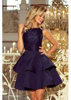 Inez. Wieczorowa sukienka z koronkową górą i falbanami na dole - GRANATOWA Numoco  wyprzedaż KupSukienke.pl  - kod rabatowy