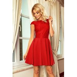 d29b290882 Sukienka czerwona Numoco z koronką rozkloszowana na wesele