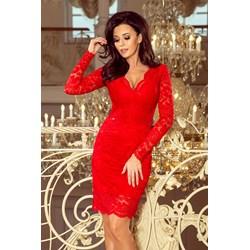 b2fc1db678 Sukienka Numoco z długim rękawem czerwona elegancka dopasowana