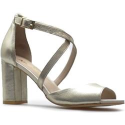 0206e374735e9 Złote sandały damskie Karino eleganckie z klamrą na wysokim obcasie ze skóry