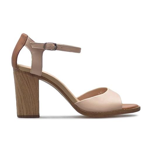 Sandały damskie Neścior z klamrą bez wzorów z niskim obcasem