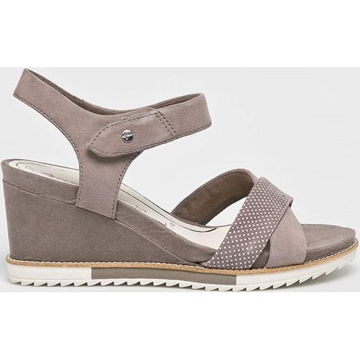 e002af60 Tamaris sandały damskie na wysokim obcasie w abstrakcyjnym wzorze na koturnie  ze skóry