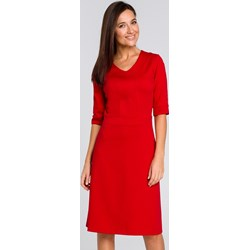 c5825547e9 Sukienka Style midi na spotkanie biznesowe bez wzorów