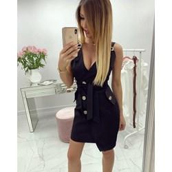 69a2091e56705 Sukienka na ramiączkach mini kopertowa czarna na imprezę z poliestru