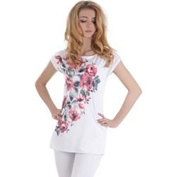 145f5df795 Bluzka damska Lamar na wiosnę z krótkim rękawem biała z okrągłym dekoltem