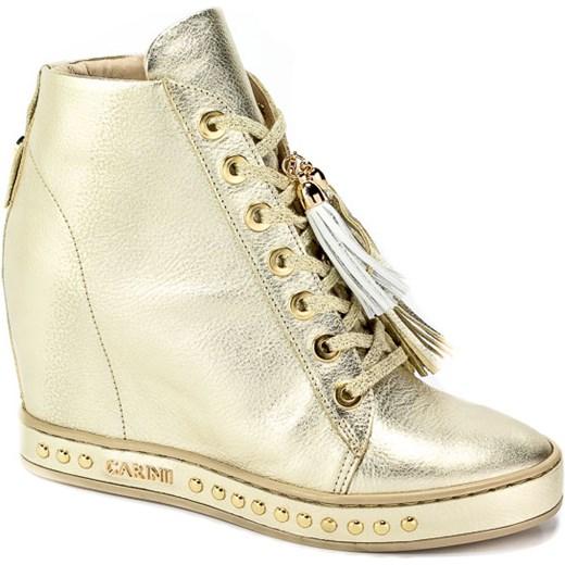 056b32fb2b85 Sneakersy damskie Carinii bez wzorów na koturnie skórzane w Domodi