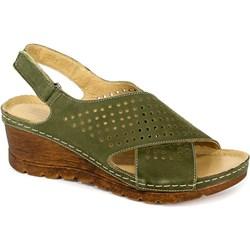 ca89bb727f059d Zielone sandały damskie Pollonus gładkie na średnim obcasie na rzepy  casualowe skórzane