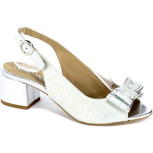 Sandały damskie Euro Moda skórzane białe z niskim obcasem gładkie