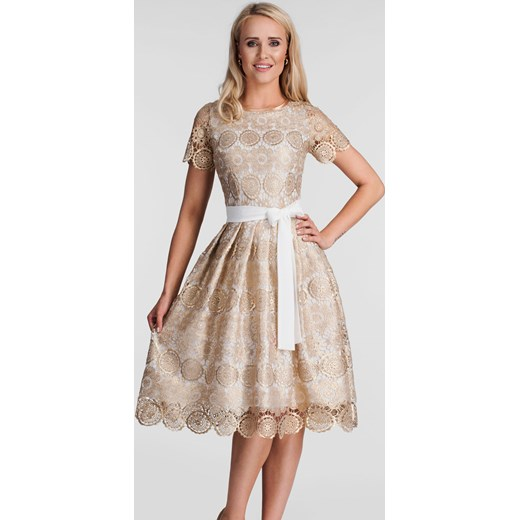 5ce0fc1cd5 Sukienka beżowa Livia Clue koronkowa midi w Domodi