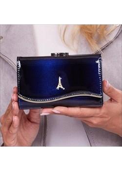 Skórzany portfel damski lakierowany granatowy Paris Design 74108 Paris Design  Skorzana.com - kod rabatowy