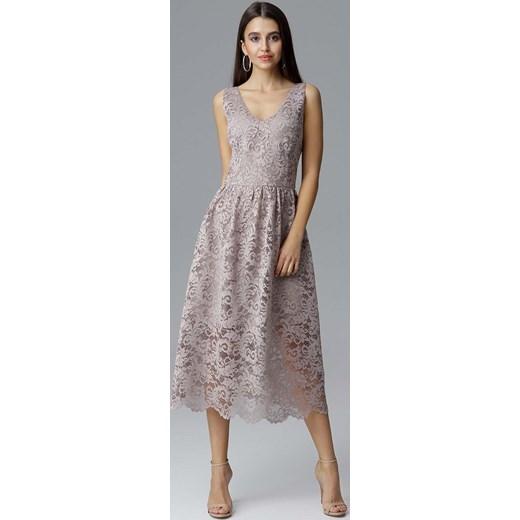 8a899921d0 Beżowa Rozkloszowana Sukienka Koronkowa na Szerokich Ramiączkach Figl L  MOLLY.PL