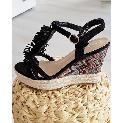 e4460be6 ... Pantofelek24.pl | Czarne sandały espadryle na koturnie Girlhood 40  wyprzedaż pantofelek24.pl ...