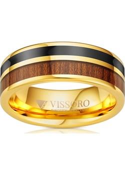 Męska Obrączka Wolframowa z drewnem . Pozłacana żółtym złotem  Vissoro  okazja  - kod rabatowy