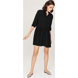 7231ec611d Sukienka Femestage na uczelnię koszulowa bez wzorów z długimi rękawami mini