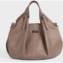 ce2f3f280e2a8 Brązowa shopper bag Femestage duża matowa z poliestru z aplikacjami