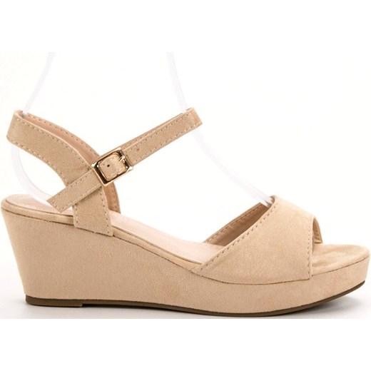 f16b90552c49f4 ... klamrą Buty Shelovet sandały damskie bez wzorów na średnim obcasie z  zamszu