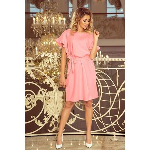 e4403c47e1 ... Sukienka różowa Numoco z okrągłym dekoltem trapezowa ...