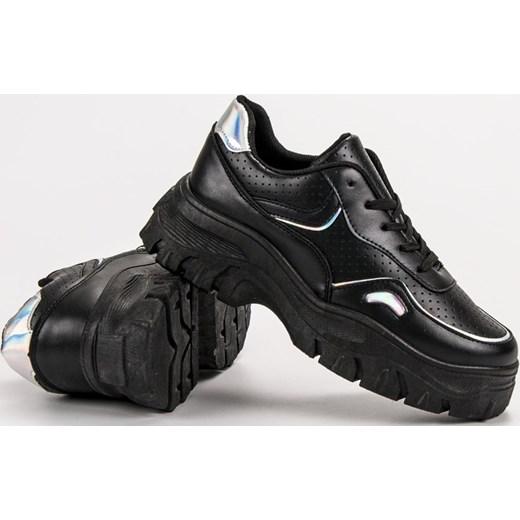078098d2 ... Sneakersy damskie CzasNaButy młodzieżowe czarne gładkie na lato ...