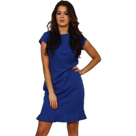 3405bcc0d5 Sukienka niebieska prosta z okrągłym dekoltem z krótkim rękawem w Domodi