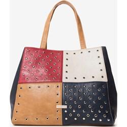 e8fb26b1ceb9d Shopper bag Desigual wielokolorowa średnia z poliestru w stylu młodzieżowym  bez dodatków