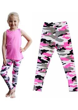 Legginsy getry dziecięce długie moro szaro-różowy Rennwear  rennwear.com - kod rabatowy