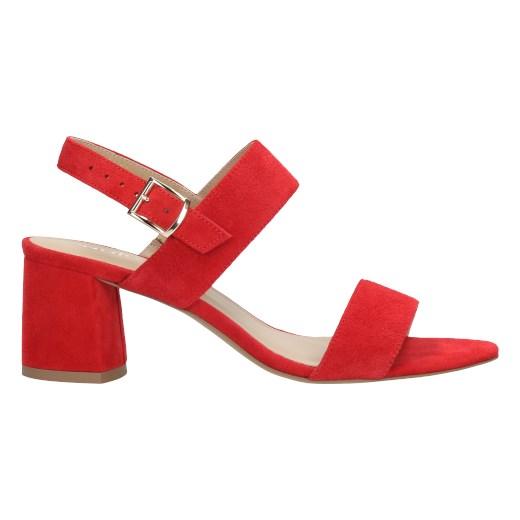 Sandały damskie Wojas czerwone z klamrą na średnim obcasie eleganckie Buty Damskie BZ czerwony Sandały damskie HRGY