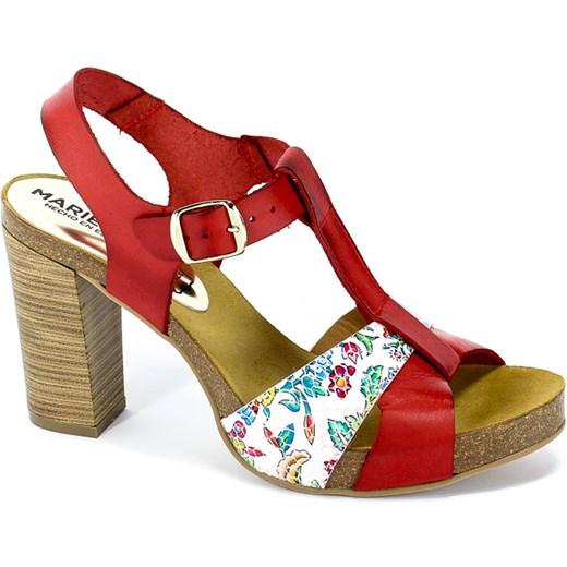 0b3cd720de67d4 Czerwone sandały damskie Marietta`s w nadruki na obcasie ze skóry casual z  klamrą