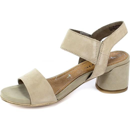 493507ae339f6 ... Sandały damskie Tamaris na średnim obcasie eleganckie na skórzane ...