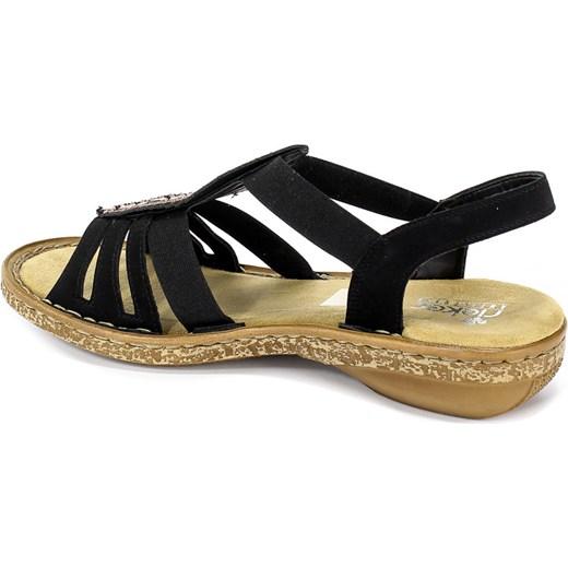 Rieker sandały damskie płaskie gładkie casual w Domodi