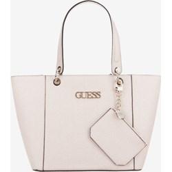 1647083cfe47d Shopper bag Guess z poliestru z breloczkiem elegancka matowa mieszcząca a8