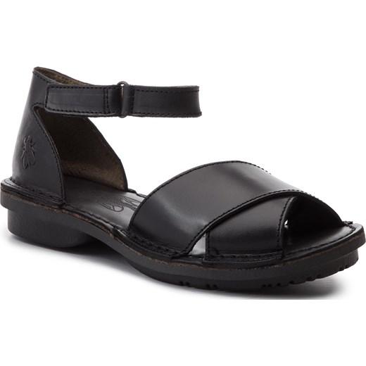 Sandały damskie Fly London skórzane czarne płaskie bez obcasa z klamrą Buty Damskie XP czarny Sandały damskie ROGL