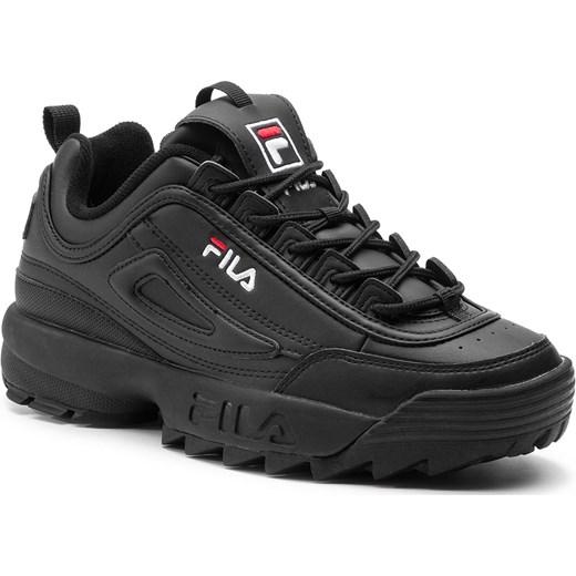 szyk Sneakersy damskie Fila czarne bez wzorów ze skóry