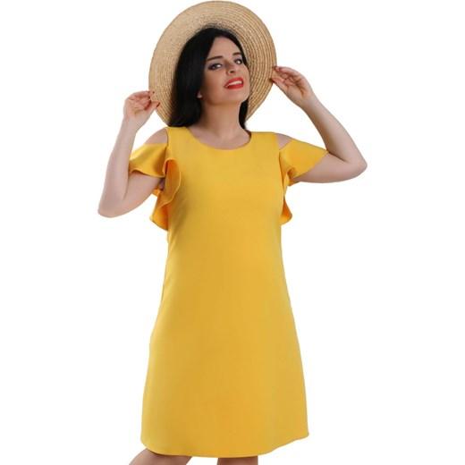 818dd853fb Sukienka Lamar midi casual z okrągłym dekoltem w Domodi