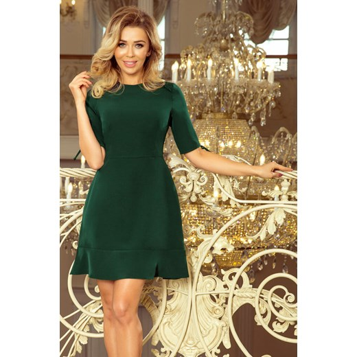d24a7058d8 235-2 sukienka z falbankami i wiązaniem na rękawkach - ciemnozielona XL  Moda Dla Ciebie ...
