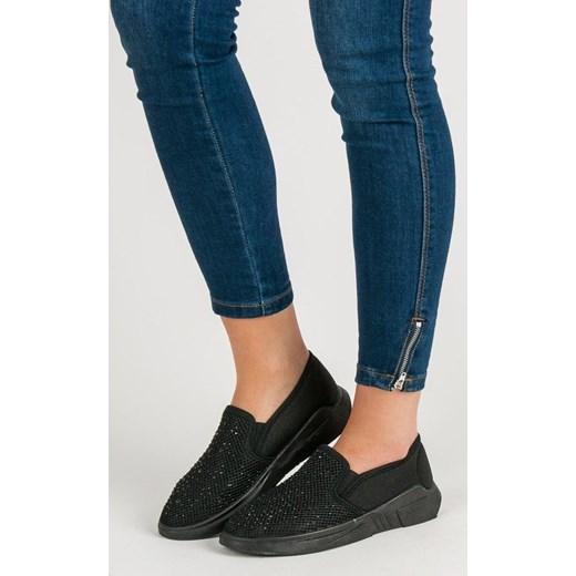 4c29573bb952f7 Shelovet buty sportowe damskie czarne płaskie sznurowane w Domodi