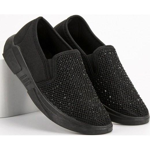2ab53d442a1cd6 Shelovet buty sportowe damskie czarne płaskie sznurowane; Buty sportowe  damskie Shelovet sznurowane płaskie ...